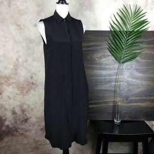 J Crew tall black sleeveless silk shirt dress TS